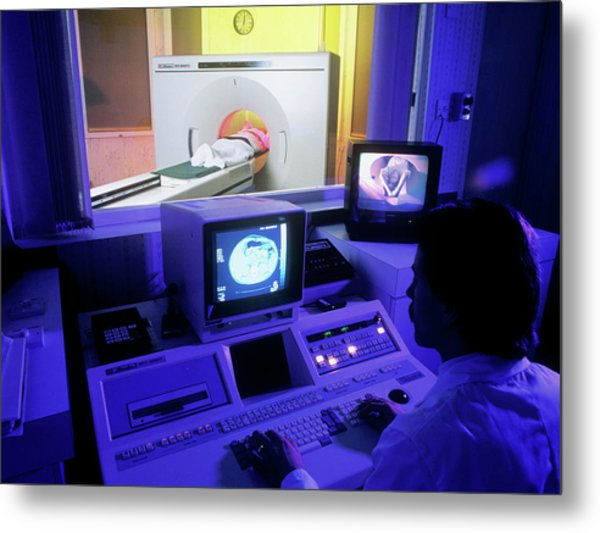 Ct Scan In Progress Metal Print by Simon Fraser/science Photo Library