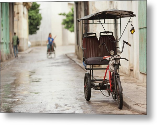 Cuba, Havana, Havana Vieja, Pedal Taxi Metal Print