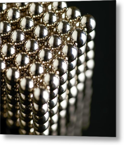 Cube Of Neodymium Magnets Metal Print by Science Photo Library