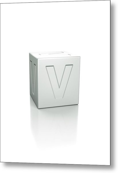 Cube With The Letter V Embossed Metal Print by David Parker/science Photo Library