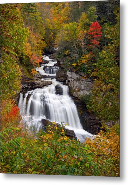 Cullasaja Falls - Wnc Waterfall In Autumn Metal Print