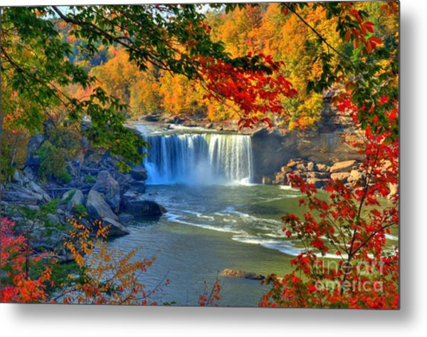 Metal Print featuring the photograph Cumberland Falls In Autumn 2 by Mel Steinhauer