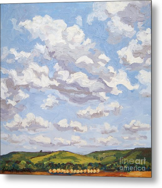 Metal Print featuring the painting Cumulus Clouds Over Flint Hills by Erin Fickert-Rowland