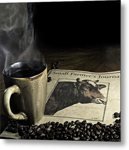 Cup Of Coffee And Small Farmer's Journal 1 Metal Print