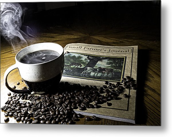 Cup Of Coffee And Small Farmer's Journal 2 Metal Print