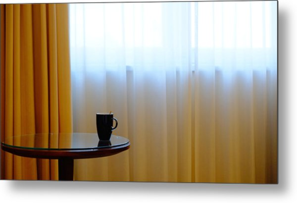 Cup On Table Metal Print