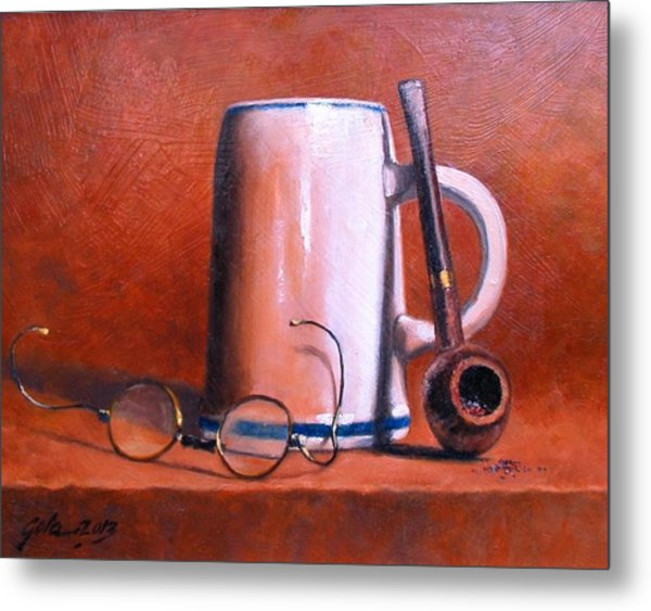 Cup Pipe And Glasses Metal Print