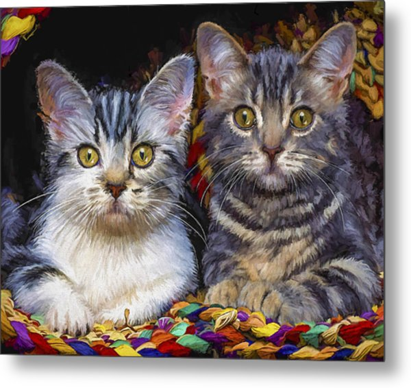 Curious Kitties Metal Print
