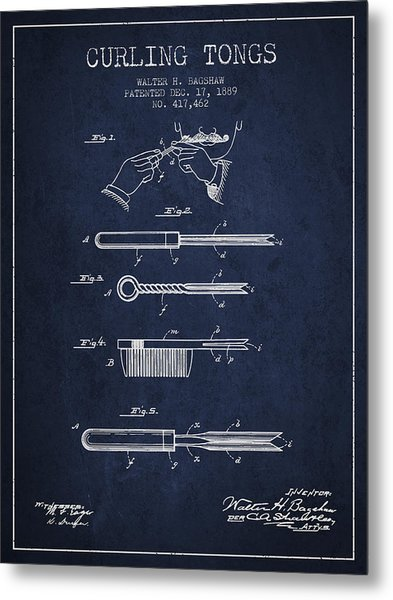 Curling Tongs Patent From 1889 - Navy Blue Metal Print