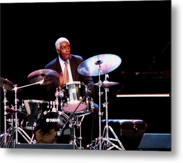 Curtis Boyd On Drums Metal Print by Cleaster Cotton