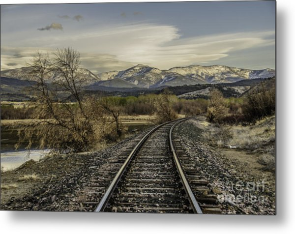 Curve In The Tracks Metal Print