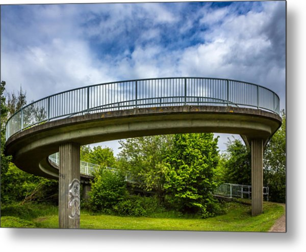 Curved Bridge. Metal Print by Gary Gillette