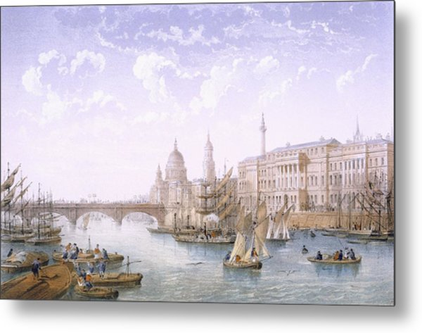 Custom House And London Bridge, 1862 Metal Print