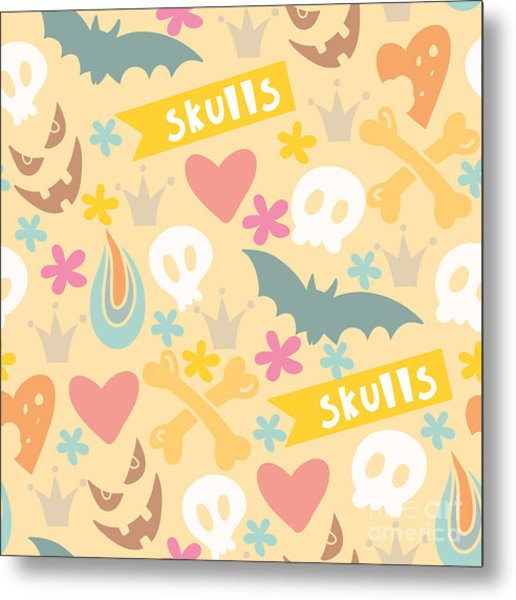 Cute Cartoon Seamless Pattern With Metal Print
