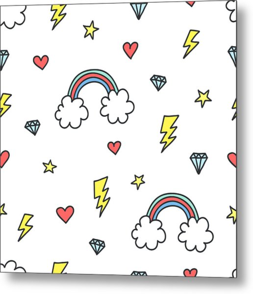 Cute Colorful Seamless Pattern Of Hand Metal Print