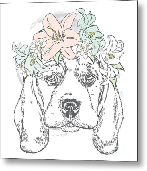 Cute Dog In A Wreath Of Roses . Vector Metal Print