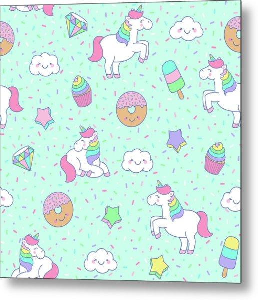 Cute Pastel Unicorn Seamless Pattern Metal Print