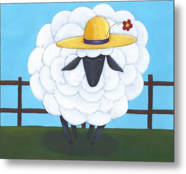 Cute Sheep Nursery Art Metal Print