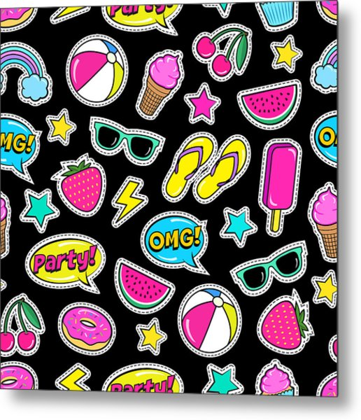 Cute Summer Seamless Colorful Pattern Metal Print