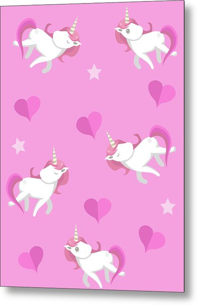 Cute Unicorns Seampless Pattern With Metal Print