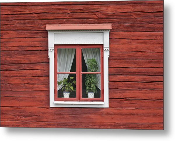 Cute Window On Red Wall Metal Print