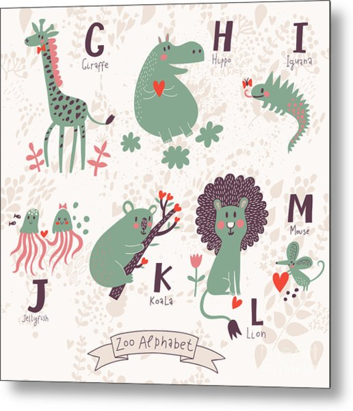 Cute Zoo Alphabet In Vector. G, H, I Metal Print