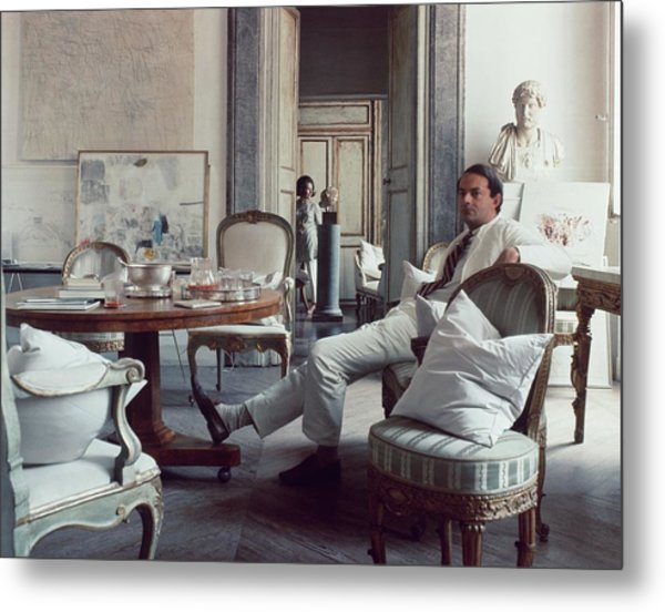 Cy Twombly Sitting In His Apartment Metal Print