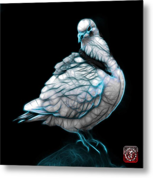 Metal Print featuring the digital art Cyan Pigeon Pop Art 5516 - Fs - Bb -  Modern Animal Artist James by James Ahn