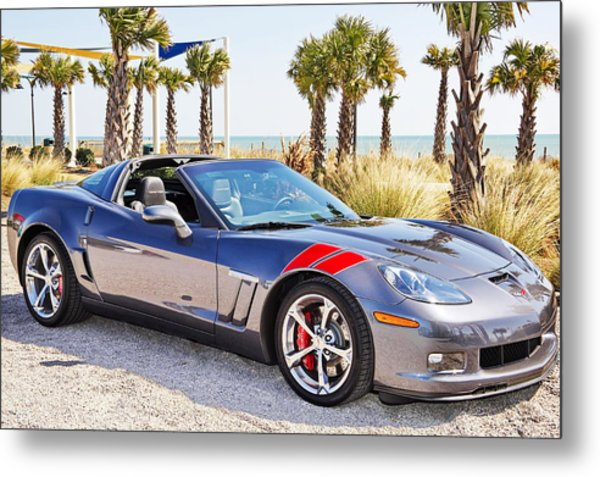 Cyber Gray Grand Sport Corvette At The Beach Metal Print
