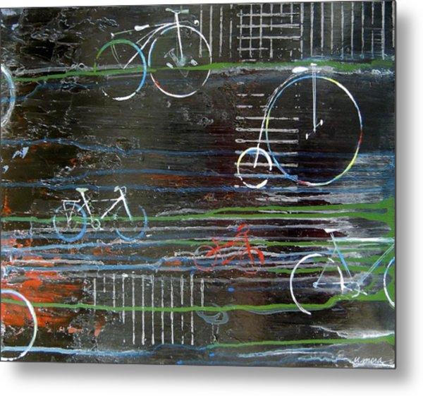 Cycling Across History Metal Print by Vivian Mora