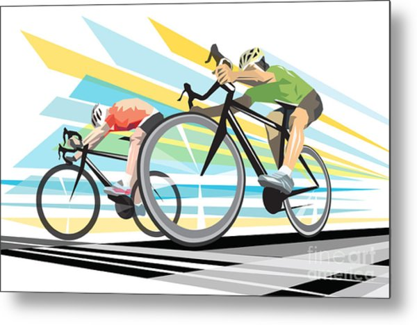 Cycling Sprint Poster Print Finish Line Metal Print