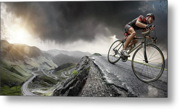 Cyclist Climbs To The Top Metal Print