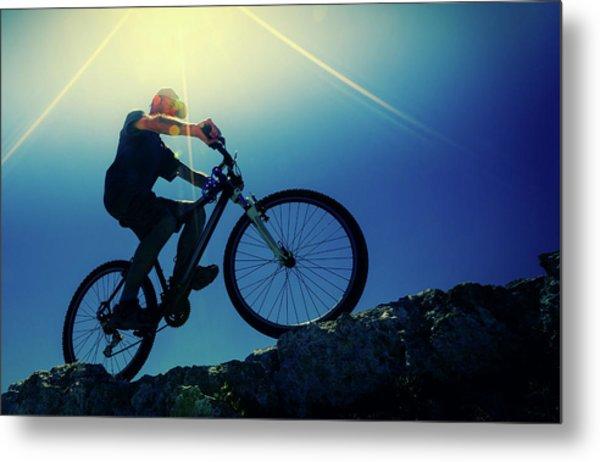 Cyclist On Bike Metal Print by Wladimir Bulgar