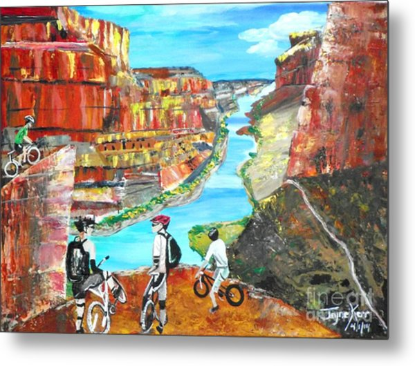 Cyclists In Grand Canyon Metal Print