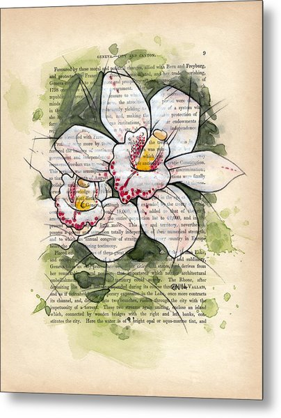Cymbidium Flowers Metal Print by Rudy Nagel