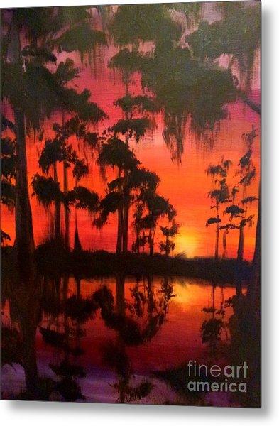 Cypress Swamp At Sunset Metal Print