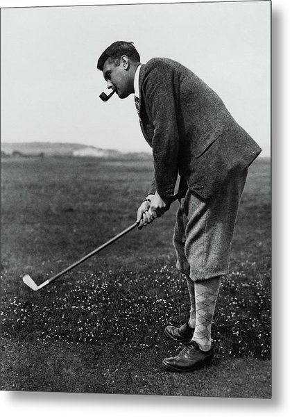 Cyril Tolley Playing Golf Metal Print by Artist Unknown