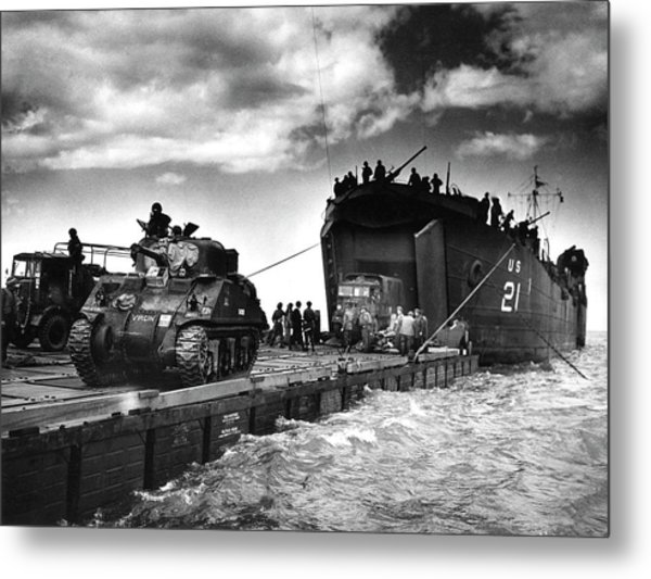 D-day Landings Harbour Metal Print by Us National Archives