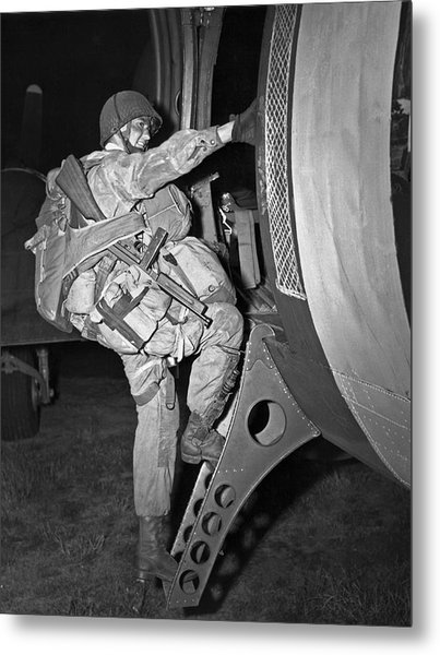 D-day Paratrooper Ready Metal Print