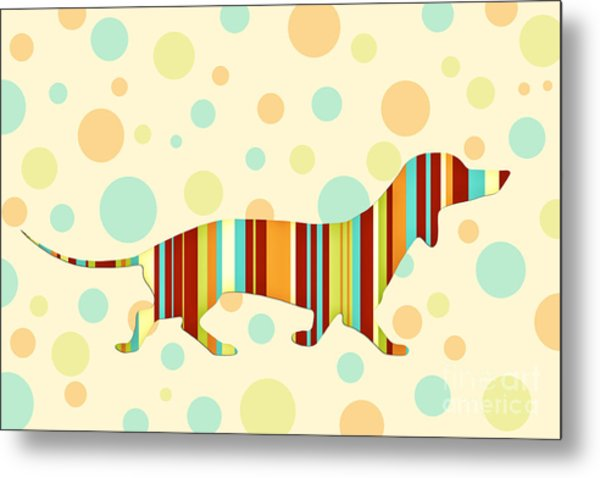 Dachshund Fun Colorful Abstract Metal Print