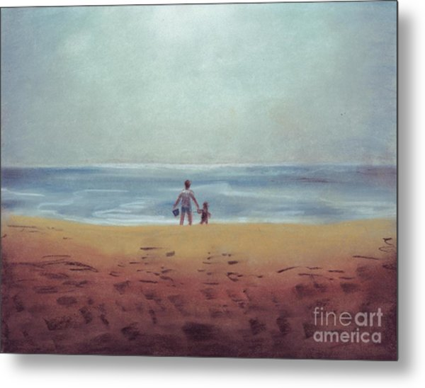 Daddy At The Beach Metal Print