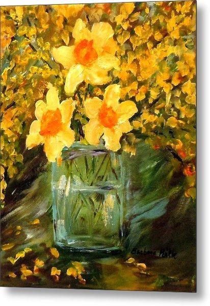 Daffodils And Forsythia Metal Print by Barbara Pirkle