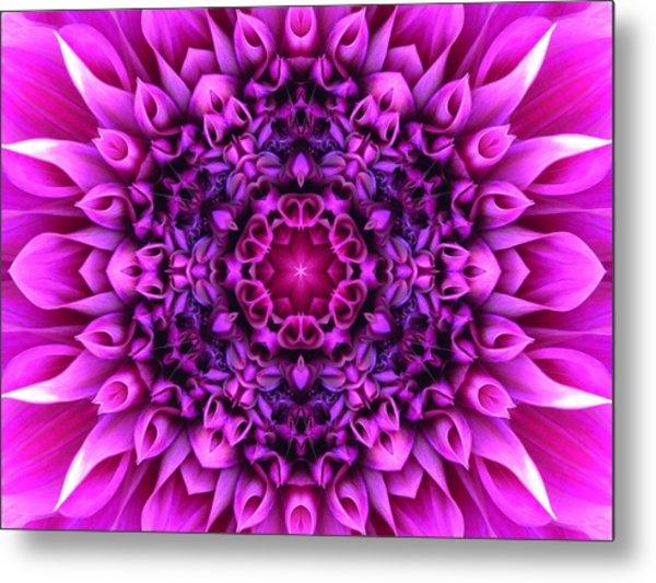 Dahlia Pink Star Mandala Metal Print