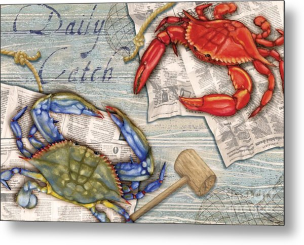 Daily Catch Crabs Metal Print