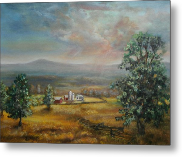 Metal Print featuring the painting Dairy Farm Pennsylvania by Katalin Luczay