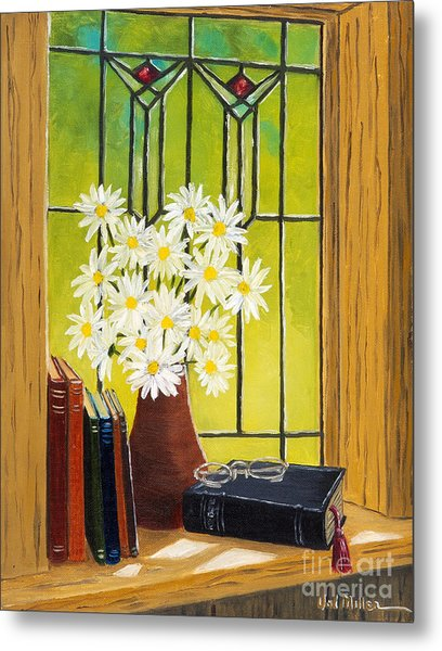 Daisies And Stained Glass Window Metal Print