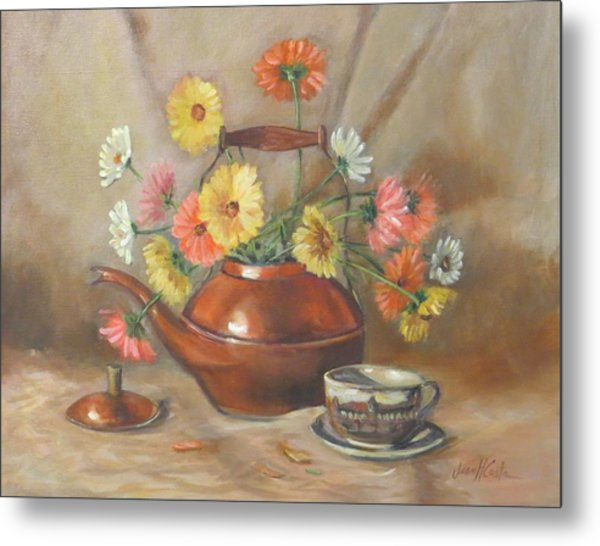 Daisies In Copper Teapot Metal Print