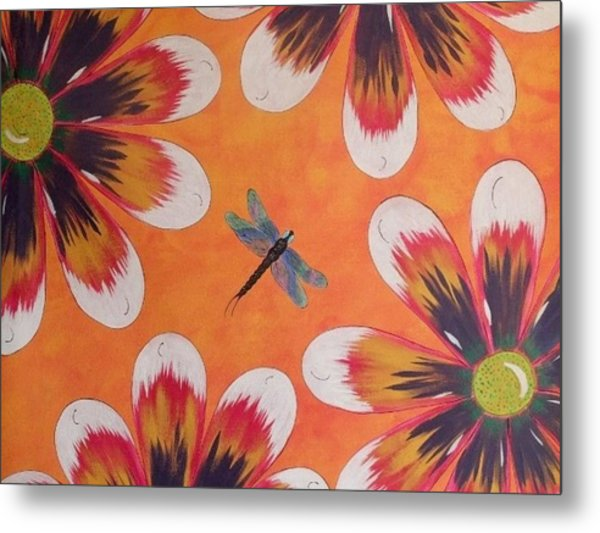 Daisy And Dragonfly Metal Print