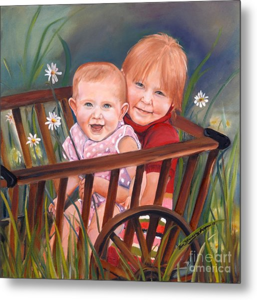 Daisy - Portrait - Girls In Wagon Metal Print