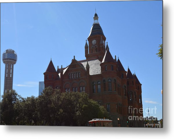 Dallas County Courthouse And Reunion Tower Metal Print by Ruth  Housley